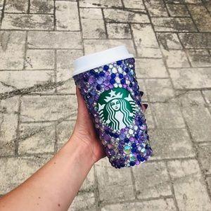 Purple bling Starbucks reusable hot cup